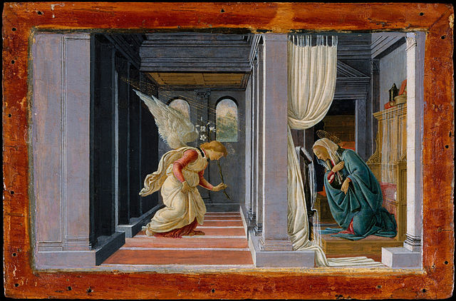 The Annunciation Sandro Botticelli circa 1485  Tempera and gold on wood Height: 191 mm (7.52 in). Width: 314 mm (12.36 in).  Metropolitan Museum of Art